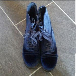 Blue velvet combat boots